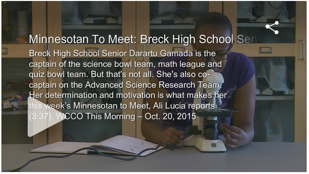 Aspirations Awards in the News: Breck High School Senior Darartu Gamada