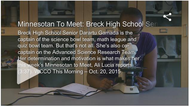 Aspirations Awards in the News: Breck High School Senior Darartu Gamada